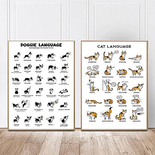 Divertidos carteles e impresiones nórdicos con lenguaje de gatos y perros, entrenamiento de animales, conocimiento, arte de pared, pintura en lienzo, cuadros, decoración del hogar, 40x60cmx2 sin marco