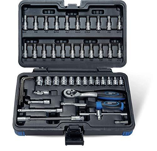 Steckschlüssel-Satz 48 teilig 1/4' aus Chrom Vanadium Stahl im WerkzeugHERO Koffer