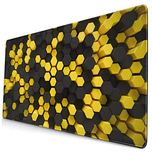 Black Yellow Hexagon Honey Comb Large Gaming Mouse Pad, Extended Mouse Mat with Non Slip Rubber Base, Water-Proof Keyboard Pad for Computer, Laptop and PC. 15.8x29.5Inch