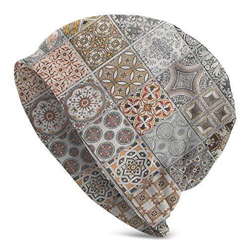 Baldosas de cerámica Coloridas Portugal Invierno Verano cálido puño Holgado Adulto Gorro de Punto Suave Gorro de Calavera para Hombres y Mujeres