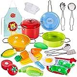 BUYGER Utensilios Juguete de Cocina para Niños 3 4 5 Años, Juguetes Chef Acero Inoxidable con Alimentos, Delantal y Gorro de Cocinero