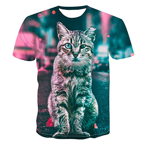 GJCDGPZTX 3D T-Shirt Nuevo Fuera del Gato Blanco Imprimir Camiseta De Los Hombres Camiseta Casual Divertido Camiseta para Lady Girl Top tee Hipster Harajuku Tees Tops Dropshipping