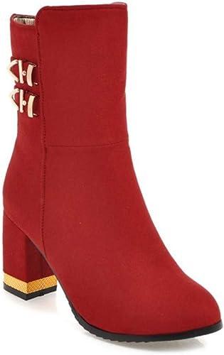 Weibliche dicke Ferse bottes... Boucle de Ceinture Hiver Hiver en Daim Grande Taille épaisse avec des Chaussures Martin Bottes pour Les Les dames, Rouge, 41  promotions promotionnelles