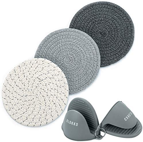 BLOKKD Trivets for Hot Pots and Pans and Silicone Pot Holders Set of 5 100 Cotton Trivet Mats product image