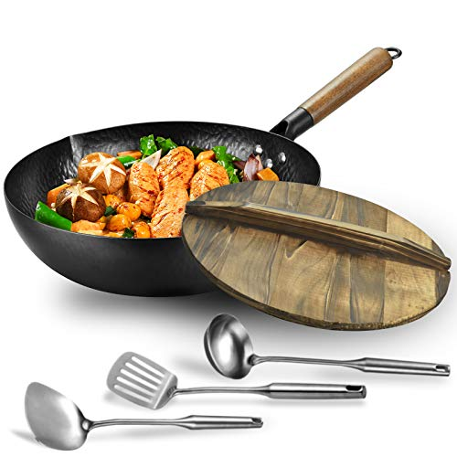 Carbon steel wok pan flat bottom pan with lid for electric induction and gas stoves 125 inch woklid 1 soup ladle and 2 spatulas included