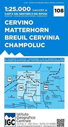 Carta n. 108 Cervino Matterhorn, Breuil Cervinia, Champoluc 1:25.000. Carta dei sentieri e dei rifugi