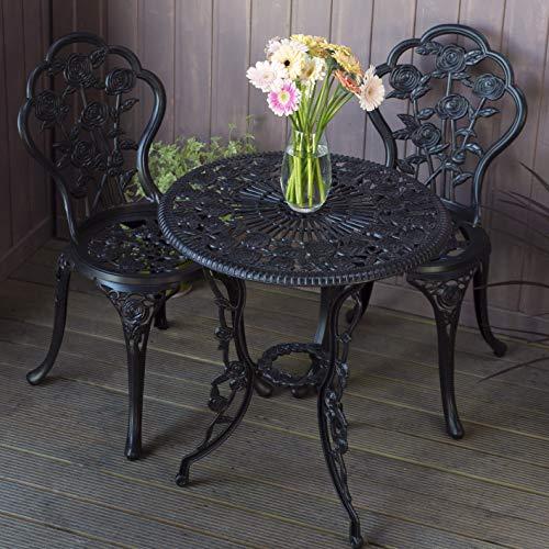 Lazy Susan London Rose 60cm Round 2 Seater | Sand-cast Aluminium Garden Furniture Set | Weatherproof | Maintenance Free | Matching Bistro Chairs | Antique Bronze Finish
