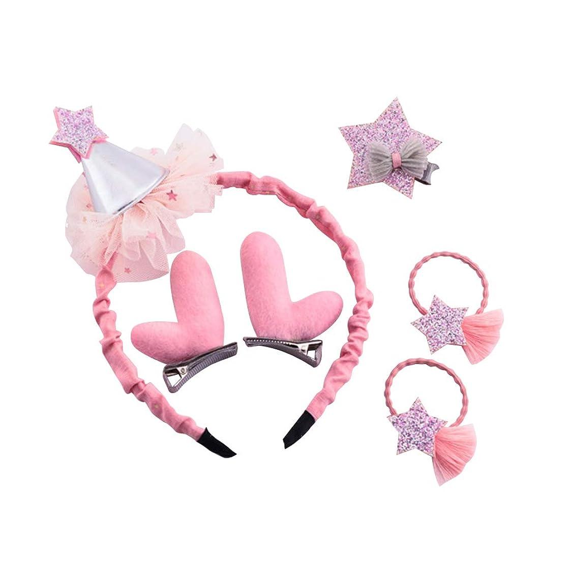 ねじれ原告出費BESTOYARD クリスマスの髪のアクセサリー帽子のレンダーの飾り飾りヘッドバンドのヘアクリップ女の子のためのピンバレッタの髪の弾性(ピンク)