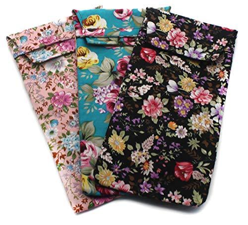 Paquete de 3 fundas de tela suave para gafas o gafas de sol, Rosa suave, azul claro, negro, Medium