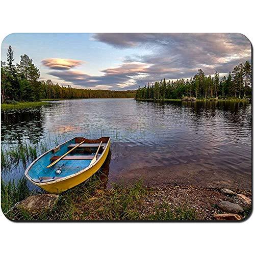 Muis Pad Landschap met Boot Noorwegen NonSlip Rubber Mousepad Gaming Mouse Pad