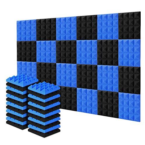 Acolchado Insonorizado, AGPtEK 24 Paquetes de Espuma Insonorizadora 25x25x5CM Paneles de Espuma Acústica, Ideales para Grabar en Estudios, Salas de TV, Habitaciones de Niños, 12 Negro, 12 Azul