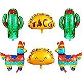6 Piezas Globos de Tema de Fiesta Mexicana Globos de Papel de Aluminio de Mylar de Taco Mexicano Llama Cactus Jumbo Decorativo para Suministros de Cumpleaños Cinco de Mayo Taco Fiesta Luau