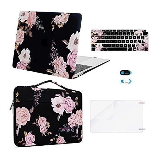 MOSISO Hülle Schutzhülle Kompatibel mit MacBook Air 13 2020 2019 2018 A2337 M1 A2179 A1932, Plastik Hartschale Koffer und Aktentasche und Tastaturschutz und Bildschirmschutz und Webcam Cover, Schwarz Pfingstrose