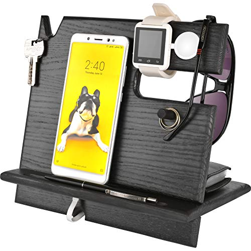 Cell Phone Stand Watch Holder. Men Wood Mobile Base Nightstand Charging Docking Station. Women Accessories Wooden Storage. Funny Bed Side Caddy Valet Happy Birthday Gift