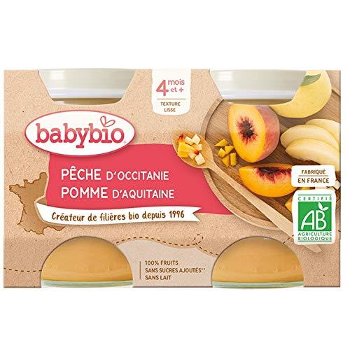 Babybio - Petits Pots Pêche Pomme dAquitaine 2x130 g - 4+ Mois - BIO