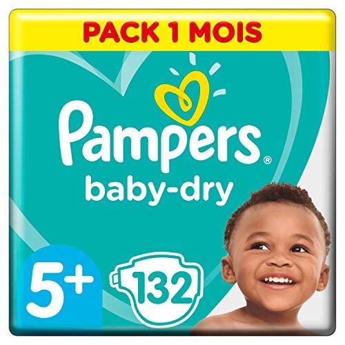 Pampers Baby-Dry Maat 5+ (12-17kg), 132 Luiers, Luchtdoorlatende Banen Voor Droge Ademende Huid En Extra Absorberend, Maandbox