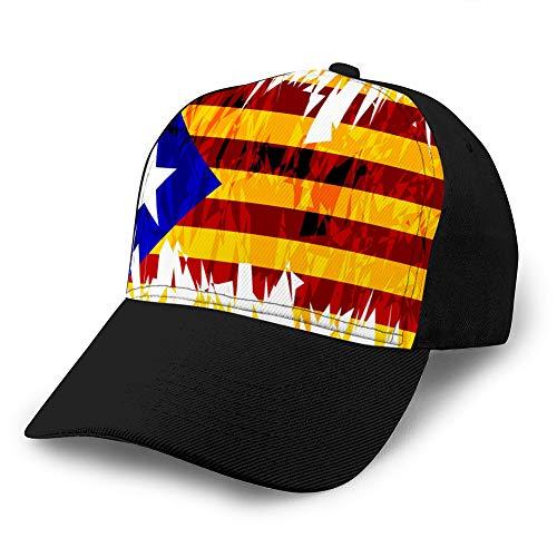 Holefg3b Gorras de béisbol de Rejilla para Adultos Sombrero de sombrilla Unisex Sombrero de Malla Gorra de Snapback Bandera de cataluña Sombreros de Moda