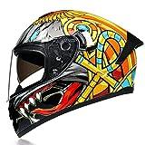 Casco Moto Integral Casco de Motocicleta Casco Personalizado Anteojos Usables Protección Visera Antivaho Diseño Cola Extendida Certificación ECE para Adultos(55-62cm)