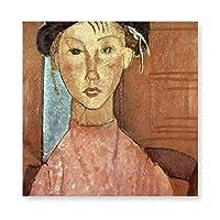 INOV アメデオ・モディリアーニ-帽子を持つ女 子 アートパネル アートフレーム キャンバス絵画 インテリアパネル インテリア絵画 壁飾り木枠セット Arts 新築飾り 贈り物