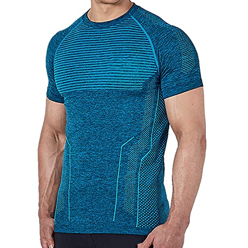 N\P Hombres Correr Apretado Camiseta Corta Compresión Secado Rápido Camiseta Masculina Gimnasio Fitness