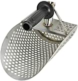 DYRABREST Metal Detecting Sand Scoop, Stainless Steel Metal Detector Scoop Beach Sand Sifting Scoop Shovel Durable Gold Wash Tool with Extra Handle for Treasure Metal Detecting Hunting Approx