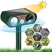 AUBNICO Ultrasonic Dog Chaser, Animal Deterrent with Motion Sensor and Flashing Lights Outdoor Solar Powered Pe-st Control Repeller Farm Garden Yard Repellent,Dogs, Cats, Birds, Skunk, Squirrels