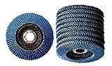 Set di 10 dischi a ventaglio con zirconio, ø 125 x 22,2 mm, K10, in acciaio inox, disco abrasivo per smerigliatrice angolare, grana blu, P100