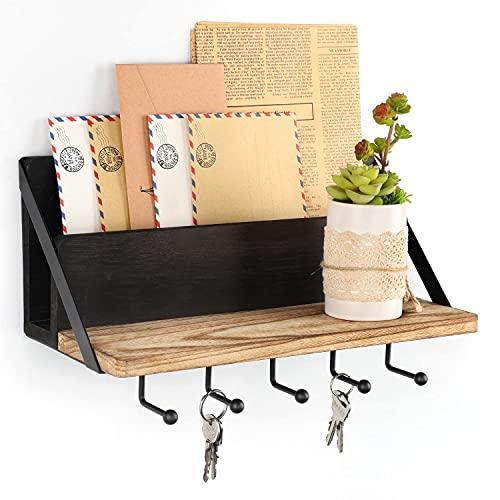 Bikoney Mail Holder Wooden Key Holder Rack Wall Decorative Mail Sorter Organizer with 5 Key Hooks for Home Entryroom Office Hallway Kitchen Black