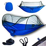 YOOMO Camping Hammock with Mosquito Net & Tree Straps Lightweight Parachute Fabric Travel Bed for Hiking, Backpacking, Backyard,Fitting Two Adults,Holds up to 600 pounds. (Gray/Orange)