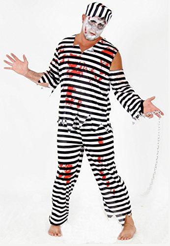 Foxxeo Zombie Sträfling Kostüm für Erwachsene Streflings Gefangene Kostüme Herren Halloween Horror Party Fasching Karneval Größe XL