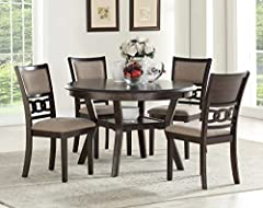 DINING ROOM SET: Dining Set Expertly Constructed Table and Chairs Made from Mindi, Rubber Wood Solids and Veneers for High-Quality Long-Lasting Dining Room Furniture CONTEMPORARY MODERN: Dinette Sets 5 Piece Finished in a Rich Cherry Color Versatile ...