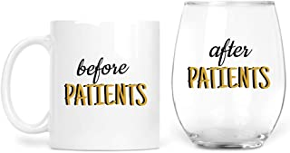 Before Patients 11 oz Coffee Mug After Patients 15 oz stemless wine glass set - Cute Gift for Nurse, Doctor, Dentist, Medical Physician, Dental and Graduation gifts for nursing students