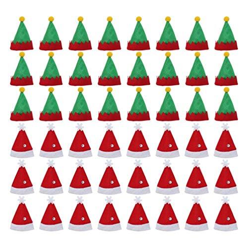 VALICLUD - 48 mini sombrero de Navidad con diseño de elfo, sombrero de lechón y botella de vino, con diseño de caramelos, tapón de cubierta para gorros de Papá Noel, Navidad, vacaciones, Cena