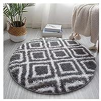 丸いカーペットの柔らかい女の子の部屋の敷物の敷物のふわふわのカーペットのための寝室研究のリビングルームの家の装飾直径80cm (Color : Gray Square, Size : 80*80CM)