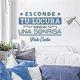 stickers muraux chambre sticker mural Citation Sticker mural décoratif espagnol typographique sur une phrase motivante de Paulo Coelho:'Cachez votre folie derrière un sourire pour votre intérieur
