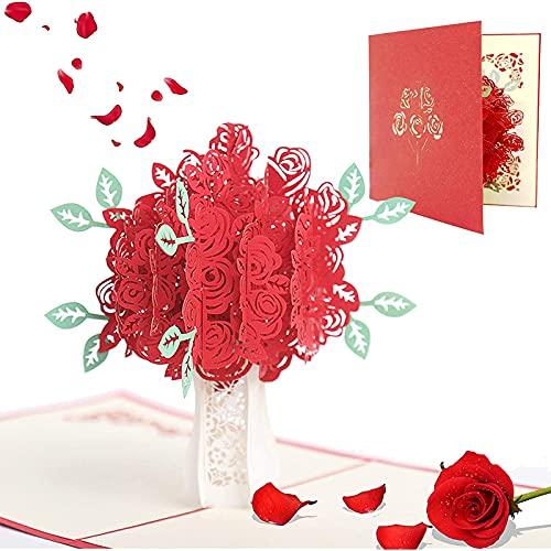 Tarjeta de Felicitación hecha a Mano, Tarjeta Regalo Emergente 3D con Patrón de Rosas, Regalos Para tu Novia Originales, Tarjeta Cumpleaños(Cumpleaños, San Valentín, Aniversario de bodas)