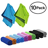 DARUNAXY 4pack Evaporative Cooling Towels 40'x12',Snap Cooling Towels for Sports, Workout, Fitness, Gym, Yoga, Pilates, Travel, Camping and More (10 Mix Color)
