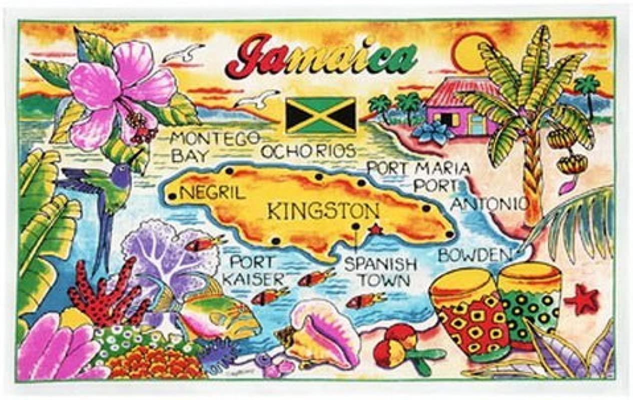 Jamaica Map Cotton Tea Kitchen Towel 19 X 30