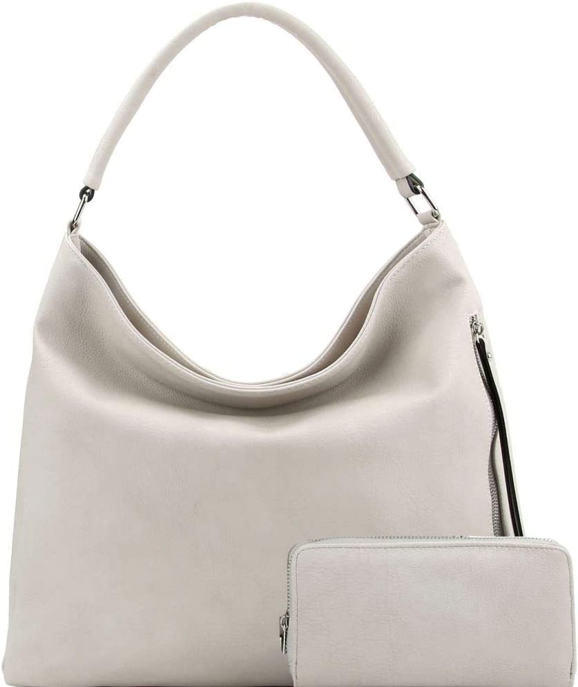 Side Zipper Pocket 2-Way PU Los Angeles Mall Leather Wallet Bag SET and Hobo Max 49% OFF