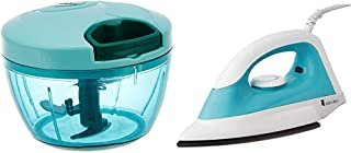 Amazon Brand - Solimo Compact Vegetable Chopper (350ml, Green) & 1000-Watt Dry Iron (White and Turquoise) Combo