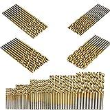 SUNSHINETEK 50 piezas Brocas HSS Micro Broca 1/1.5/2 / 2.5 / 3mm Juego de herramientas de broca de metal de titanio para madera plástica y aluminio
