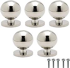 """Beslag Design - 5 stuks kastknop rond """"Solliden"""" vernikkeld - Ø 25 mm, T: 27 mm - commodeknop deurknop kastknop keukenknop..."""