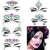 Mermaid Face Gems Glitter, 6 Packs Rhinestone Face Jewels Festival Rave, Self-adhesive Face Eyes Eyebrow Bindi Tears Body Rainbow Jewel Crystal Acrylic Diamond Temporary Tattoo Stickers