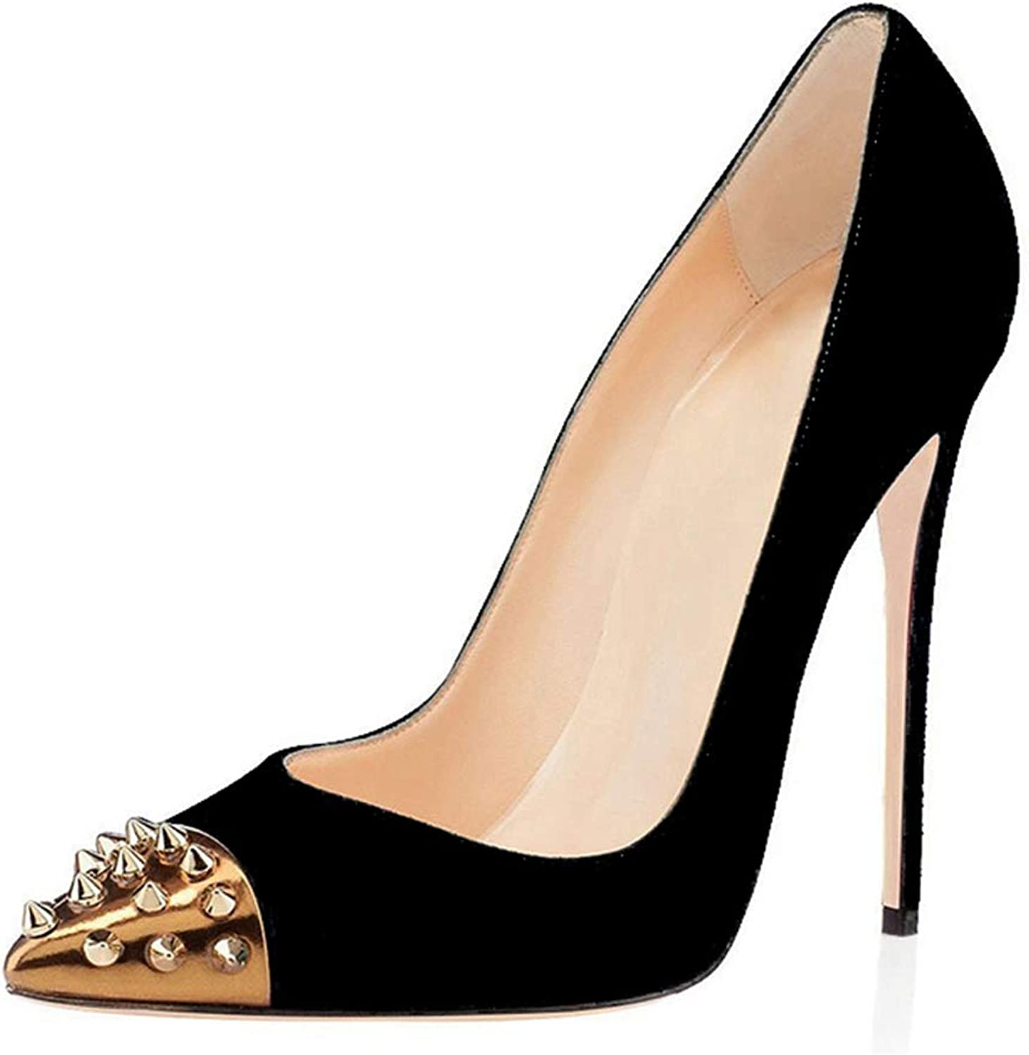Women Rivet Pump gold Heeled Sandal Pointed Toe shoes Wedding Party Ladies Sandals