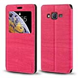 Funda para Samsung Galaxy J7 2016, funda de piel de grano de madera con soporte para tarjetas y ventana, tapa magnética para Samsung Galaxy J7 2016 (rosa)