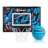 """AND1 Over The Door Mini Hoop: - 18""""x12"""" Easy to Install Portable Basketball Hoop with Steel Rim, Includes 5"""" Mini Basketball, Indoor Game Set for Children and Adults- Blue & Purple, Blue/Purple"""
