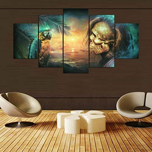 FGVBWE4R Modulare Bilder für Wohnzimmer Wohnkultur 5 Panel Dark Fantasy Tableau Abstrakte Rahmen Leinwand Malerei Wandkunst Poster-XXL