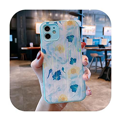 Caja del teléfono de la flor del laser del brillo de la moda para el iPhone 11 12 Pro Max 12 Mini XS Max X XR 8 7 Plus suave TPU parachoques cubierta a prueba de choques - 3-para iphone12 Pro Max