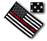 US Flag Factory - 3x5 FT Thin RED Line American Flag (Embroidered Stars, Sewn Stripes) for Firefighters - SolarMax Nylon Outdoor - Made in America!