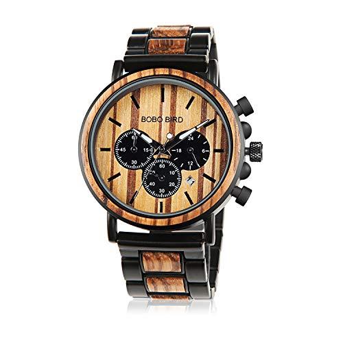 BOBO BIRD Herren Holz-Edelstahl Armbanduhr Military in Braun & Schwarz Chronograph mit Einem Gliederarmband Handgefertigt Quarz Analog Uhr inkl Geschenkbox (schwarz)